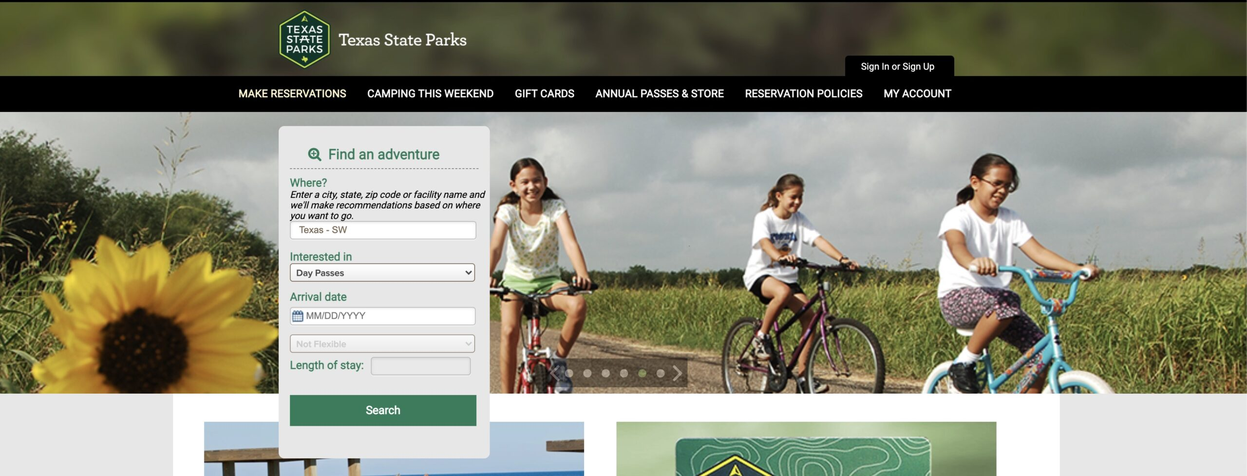 Texas state parks login